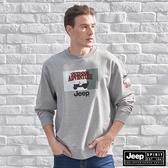 【JEEP】美式吉普圖騰長袖T恤 (淺灰)