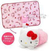 〔小禮堂〕Hello Kitty 造型可收納毛毯披肩《亮粉.趴姿》薄毯.2018溫暖禦冬系列 4901610-86009
