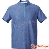 Wildland 荒野 0A61622-51藍灰色 男拉鍊雙色吸濕排汗上衣 抗UV/快乾舒爽/POLO衫/舒適柔軟/運動休閒