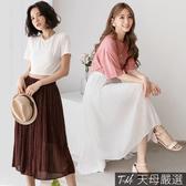【天母嚴選】水玉點點百摺雪紡長裙(共二色)