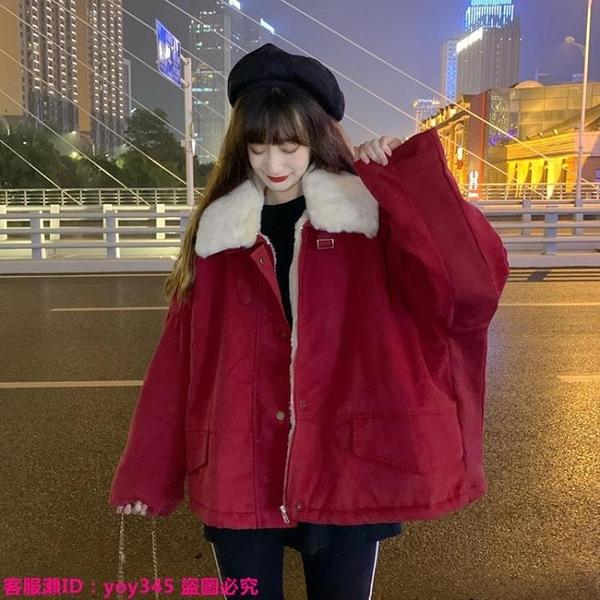 限時特惠外套 紅色棉服女ins冬季新款韓版加厚加絨工裝棉衣棉襖小個子外套