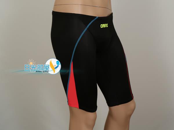 *日光部屋* arena (公司貨)/A5012M-BKBK 競賽型/低腰五分馬褲型泳褲(Fina認證)