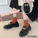 PAPORA日系百搭牛津小包鞋跟鞋KS6677黑