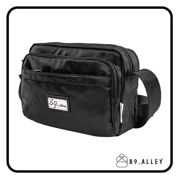側背包 女包男包 黑色系防水包 輕量尼龍直式雙層情侶斜背包 89.Alley ☀1色 HB89150