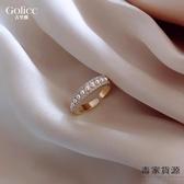 微鑲珍珠戒指女開口戒時尚個性食指指環簡約冷淡風【毒家貨源】