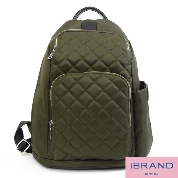iBrand後背包 率性菱格紋後開式防盜尼龍後背包(M)-軍綠色 HS-2003