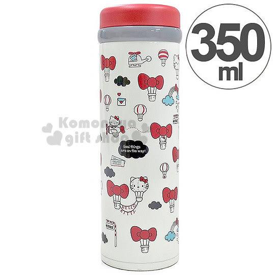 〔小禮堂〕Hello Kitty 不銹鋼保溫瓶《紅白.熱氣球.350ml》保溫.保冷OK! 4970825-11213