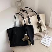 手提包春夏帆布大包包女2020新款潮韓版時尚百搭側背手提包大容量托特包 小天使