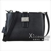 MK MICHAEL KORS BOND金屬銀釦LOGO皮革手拿夾層母子側背包(中/黑)