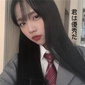 XHR 自制韓版休閑條紋領帶班服襯衫搭配男女同款 酒紅色