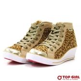 TOP GIRL SESY GIRL 狂野豹紋厚底鞋-香檳金