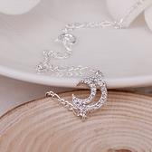 腳鍊 鑲鑽925純銀銀飾-星空月亮生日情人節禮物女飾品73ci34【時尚巴黎】
