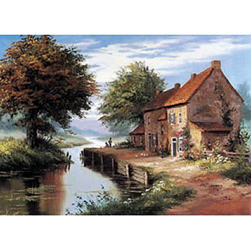 【P2 拼圖】風景之美系列-河邊屋舍 520片拼圖 HM52-480