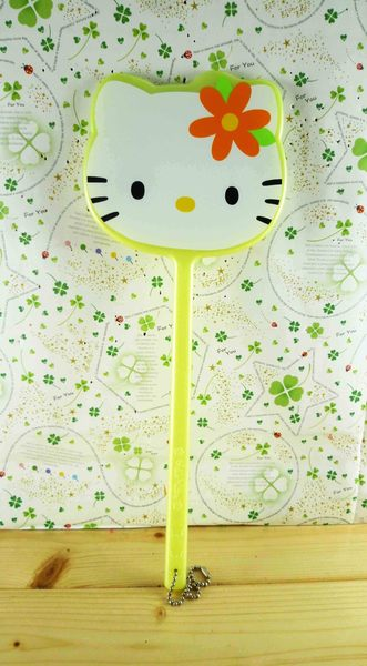 【震撼精品百貨】Hello Kitty 凱蒂貓-手拿鏡-黃波斯(L)