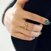 戒指 925純銀 鑲鑽-個性多層生日情人節禮物女開口戒3色73dv31[時尚巴黎]