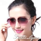 時尚無框切邊鑲鑚墨鏡防太陽鏡女圓臉網紅款個性眼睛 范思蓮恩