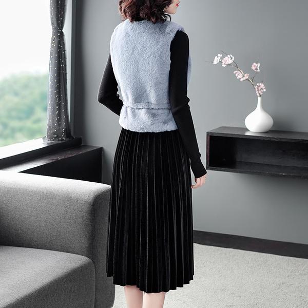 (現貨+預購 RN-girls)-精品仿兔毛背心+絲絨百褶半裙三件式長袖套裝-
