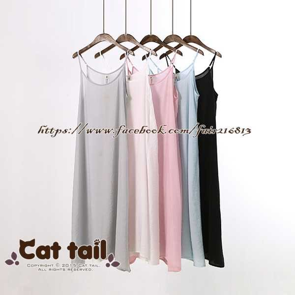 《貓尾巴》LZ-02213 文藝小清新吊帶連身裙(森林系 日系 棉麻 文青 清新)
