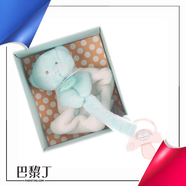Doudou et Compagnie QQ藍寶毛巾熊奶嘴鏈 有盒【巴黎丁】