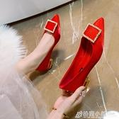 婚鞋女春季新款結婚鞋子新娘鞋孕婦平底粗跟低跟中式紅秀禾鞋 格蘭小舖 全館5折起