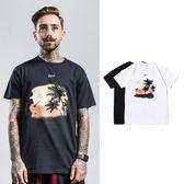 短袖T恤-圓領熱帶椰子樹棉質男上衣2色73qx54[巴黎精品]