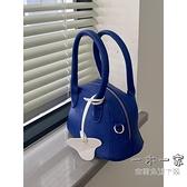 手提包 小眾設計藍色荔枝紋軟糯質感單肩手提小包包春夏韓版百搭斜挎包女