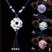 古典陶瓷青花瓷牡丹花朵項鏈女文藝復古民族風百搭長款毛衣鏈配飾【萬聖節推薦】