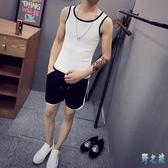 男士無袖背心運動套裝夏季2019新款韓版潮流休閒透氣短褲短袖兩件式褲裝LXY3094【野之旅】