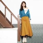 早秋上市[H2O]具挺度下襬大波浪長裙 - 黃/藍/咖色 #0652008
