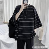條紋t恤男短袖寬松潮流韓版蝙蝠衫5分袖潮牌男裝衣服半袖體恤