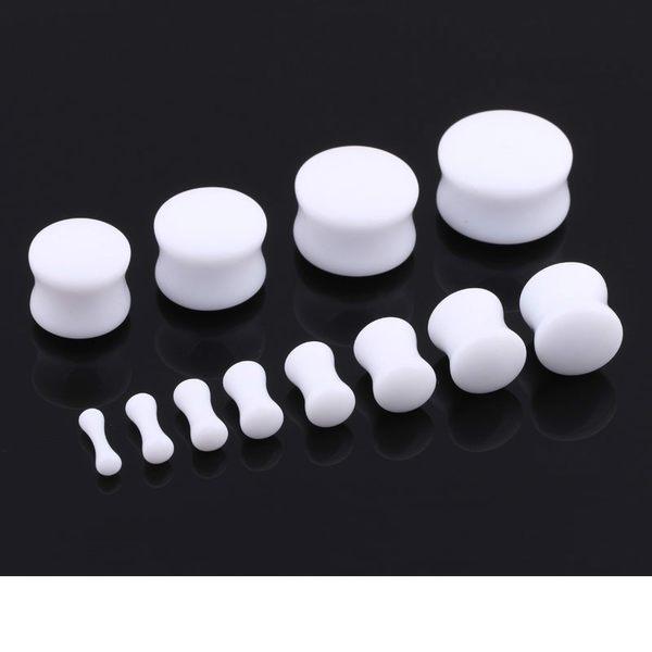 【TT】UV樹脂亞克力塑料實心腰骨頭棒白色耳擴擴耳器朋克穿刺飾品