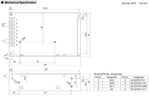 MW明緯 RT-85A 三組輸出電源供應器 85W Meanwell 機殼型 Enclosed Type 交換式電源供應器