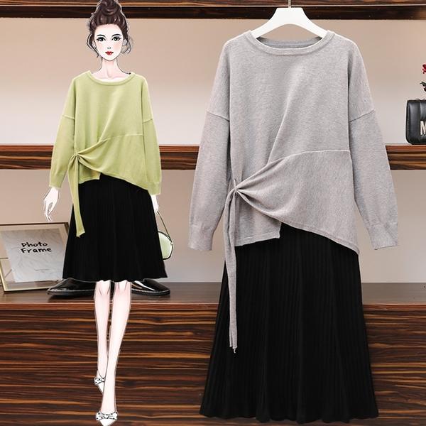 微購【A5189】設計感針織上衣+裙 套裝 L-5XL