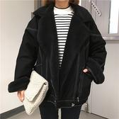 韓版新款寬鬆加絨加厚羊羔毛外套女冬裝bf牛仔棉衣百搭棉服棉襖潮  免運快速出貨