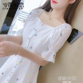 雪紡洋裝子仙女超仙森系女裝夏裝2020年新款碎花長裙氣質女神范 韓語空間