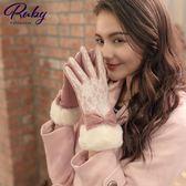 手套 絨毛蕾絲蝴蝶結毛呢手套-Ruby s 露比午茶