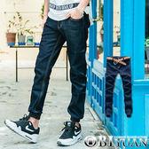 情侶款束口褲【P1842】OBI YUAN韓版專櫃品單寧素面彈性JOGGER牛仔褲