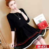 簡約特色雙層裙百褶紗裙長袖洋裝 M-4XL O-ker歐珂兒 15991-C