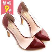 amai金屬鏡面透明側拼接尖頭高跟鞋 紅
