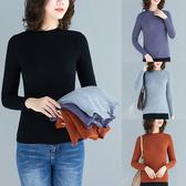 純色打底衫女外穿胖MM大尺碼顯瘦修身百搭保暖針織衫