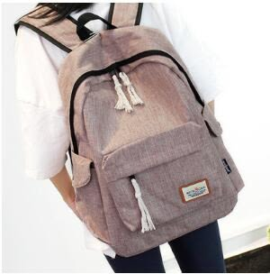 後背包簡約雙肩包男女正韓中學生書包大容量旅行背包學院風【元氣少女】