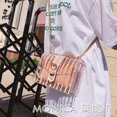 夏天透明小包包女潮韓版百搭斜背包鏈條果凍小清新小方包 麻吉好貨