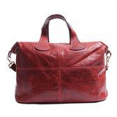 阿卡天使真皮自然甩紋都會魅力肩背包-棗紅色B551
