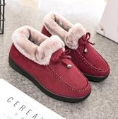 棉鞋女 冬季保暖加絨加厚短款平底防滑雪地靴媽媽毛毛鞋【快速出貨】