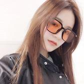 現貨-韓國果凍明星同款方形復古黑色太陽眼鏡海洋片彩色鏡片墨鏡男女 336