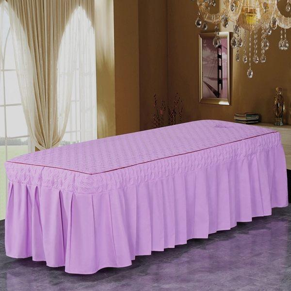 美容床罩四件套純色親膚棉spa會所美容院專用美體按摩床罩I1