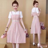短袖假兩件連身裙胖MM女裝新款時尚拼接中長款大尺碼A字洋裝 DR25223【Rose中大尺碼】