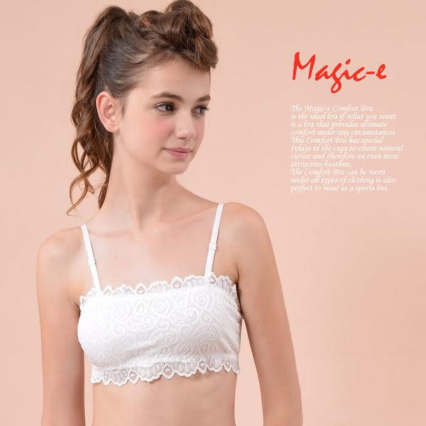 魔法e裳《 三排扣蕾絲內衣平口小可愛 》肩帶可調可拆 內附胸墊C003-2