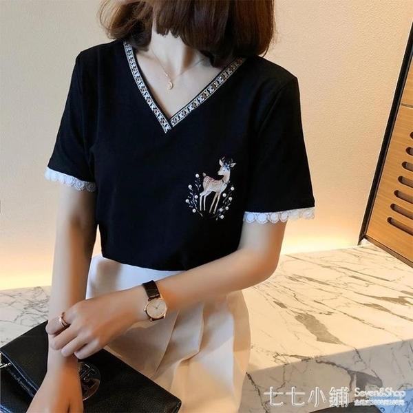 短袖T恤女2021春季新款寬鬆設計感小眾氣質V領刺繡蕾絲上衣打底衫