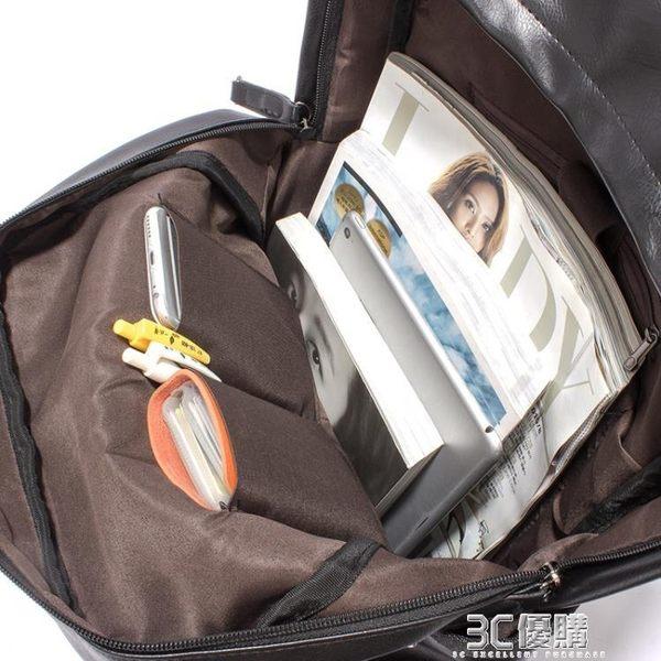 後背包 男包韓版潮包PU皮男士雙肩包男背包學生書包電腦包休閒運動旅行包 3C優購